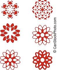conjunto, de, resumen, flor, diseñe elementos