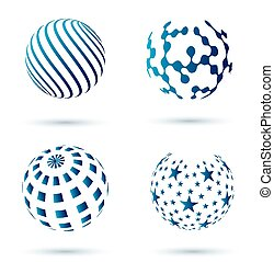conjunto, de, resumen, globo, iconos