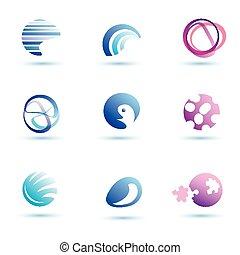 conjunto, de, resumen, globo, vector, iconos