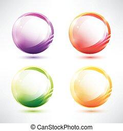 conjunto, de, resumen, glosy, círculos
