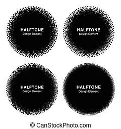 conjunto, de, resumen, halftone, puntos, circles.