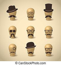 conjunto, de, retro, bigotes, sombreros, y, anteojos