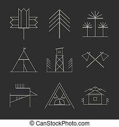 conjunto, de, retro, campamento, insignias