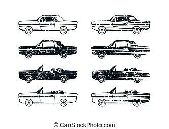 conjunto, de, retro, coche, siluetas
