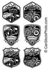 conjunto, de, retro, insignias, con, coche, y, motocicleta, fondo, con, montañas