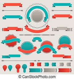 conjunto, de, retro, insignias, etiquetas, cintas, y, diseño, elements.