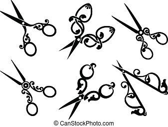 conjunto, de, retro, scissors.
