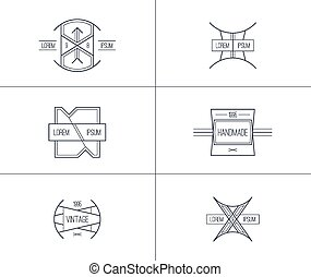 conjunto, de, retro, vendimia, insignias