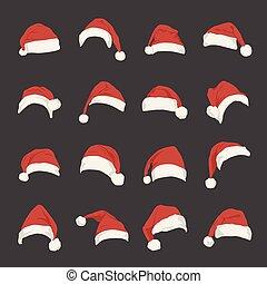 conjunto, de, rojo, santa claus sombreros