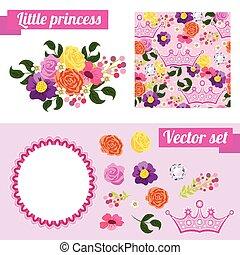 conjunto, de, rosa, elementos florales, con, crown., recoger, marco, para, un, princess.
