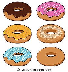 conjunto, de, rosquillas, en, caricatura, estilo