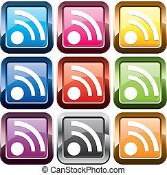 conjunto, de, rss, botones, multicolor, vector, ilustración