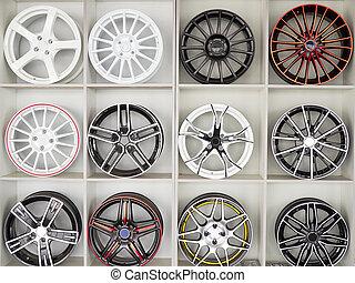 conjunto, de, rueda de coche, discos