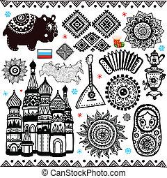 conjunto, de, ruso, folcloric, símbolos
