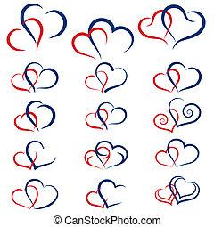 conjunto, de, símbolos, corazones dobles, vector