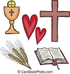 conjunto, de, símbolos religiosos