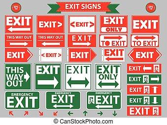 conjunto, de, salida de emergencia, señales