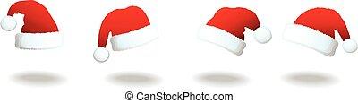 conjunto, de, santa, sombreros