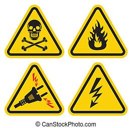 conjunto, de, señal de peligro