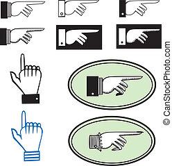 conjunto, de, señalar, manos