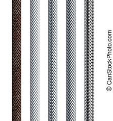 conjunto, de, seamless, acero, cable