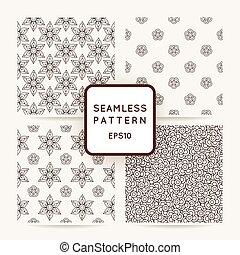 conjunto, de, seamless, flor, patrones