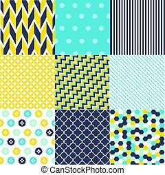 conjunto, de, seamless, patrones