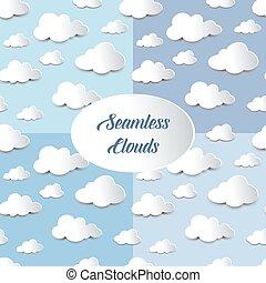 conjunto, de, seamless, recorte, nubes