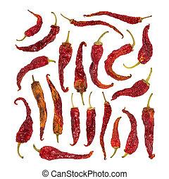 conjunto, de, seco, pimienta chili, aislado, en, white.