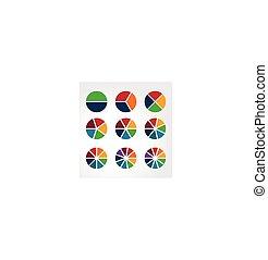 conjunto, de, segmentar, esferas