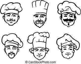 conjunto, de, seis, chef, o, cocineros, cabezas