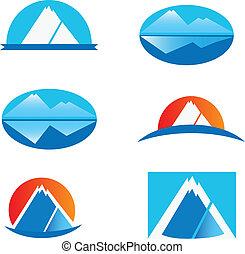 conjunto, de, seis, montaña, logotipos