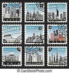 conjunto, de, sellos, con, diferente, ciudad, y, landmarks.