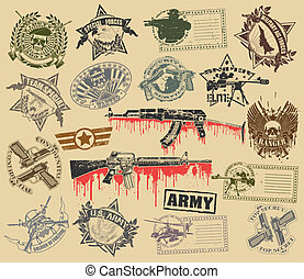conjunto, de, sellos, de, militar, símbolos