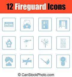 conjunto, de, servicio del fuego, iconos