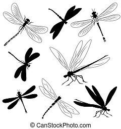 conjunto, de, siluetas, de, libélulas,