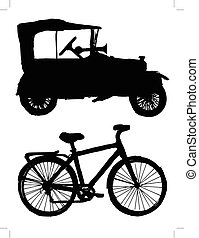 conjunto, de, siluetas, de, transporte