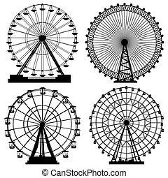 conjunto, de, siluetas, ferris, wheel.
