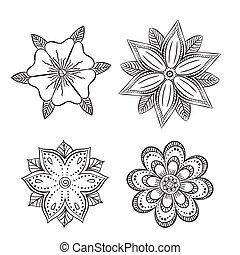 conjunto, de, siluetas, simétrico, resumen, flores