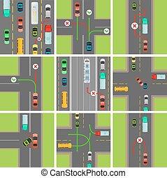 conjunto, de, situaciones, en, road., tráfico, leyes,...