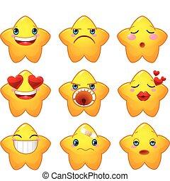 conjunto, de, smileys, estrellas