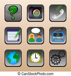 conjunto, de, social, multimedia, iconos