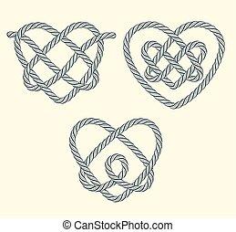 conjunto, de, soga, corazones, decorativo, nudos