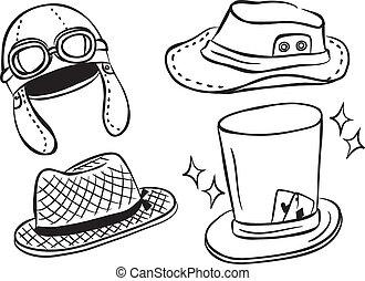 conjunto, de, sombrero