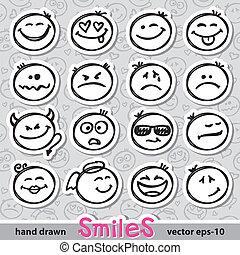 conjunto, de, sonrisas