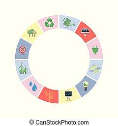 conjunto, de, sostenible, iconos, en, círculo, forma
