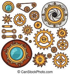 conjunto, de, steampunk, engranajes, tornillos, y, ruedas...