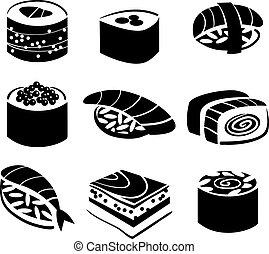 conjunto, de, sushi