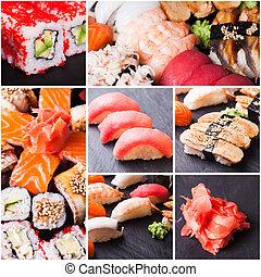 conjunto, de, sushi, y, rollos