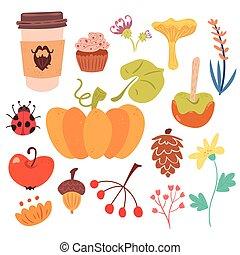 conjunto, de, sutumn, cosecha, y, dulce, comida.